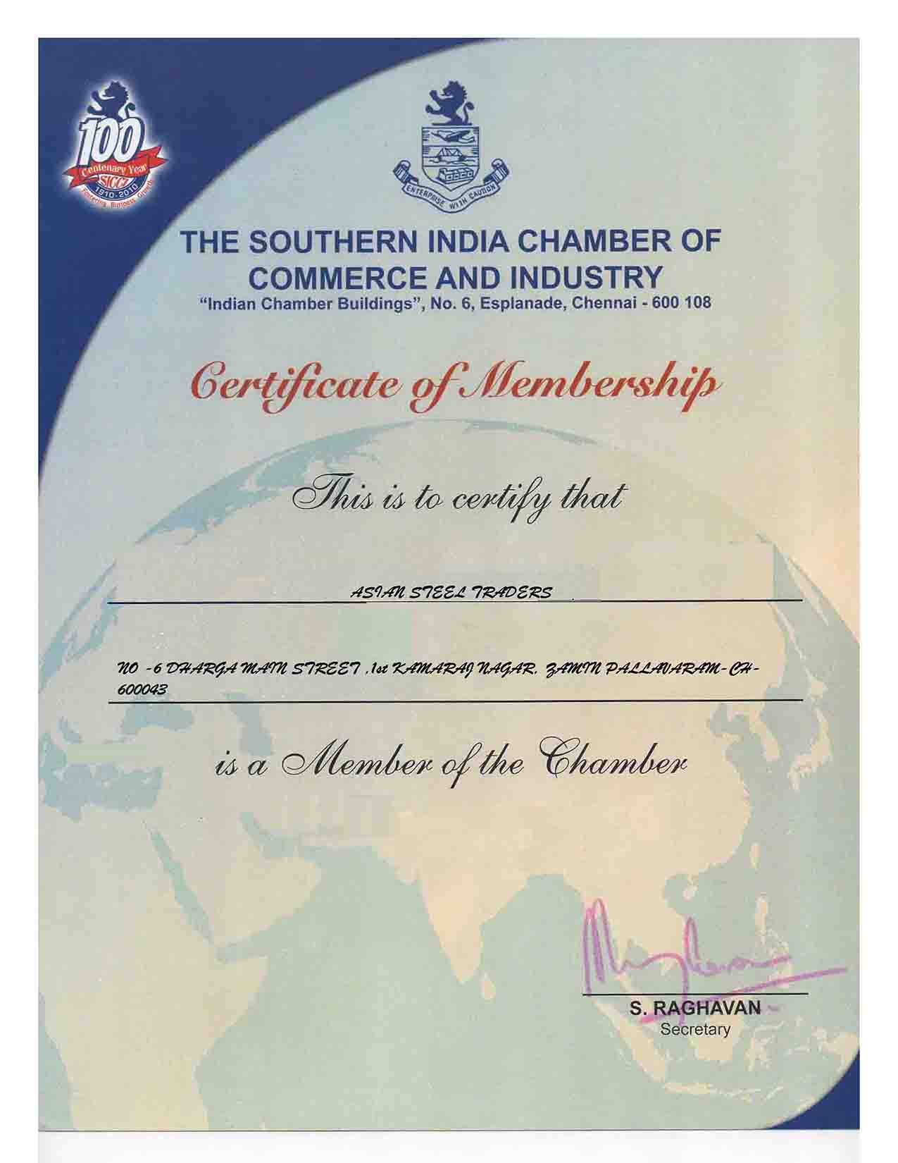 AST SOUTHERN CHAMBER CERTIFICATE